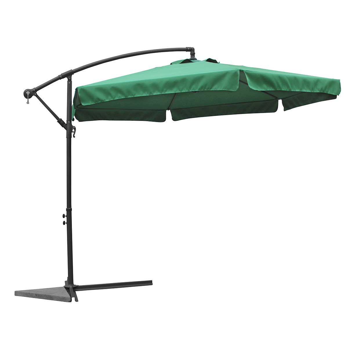 grand parasol 3 5m nico vert tr s stable inclinable avec manivelle jardin piscine. Black Bedroom Furniture Sets. Home Design Ideas