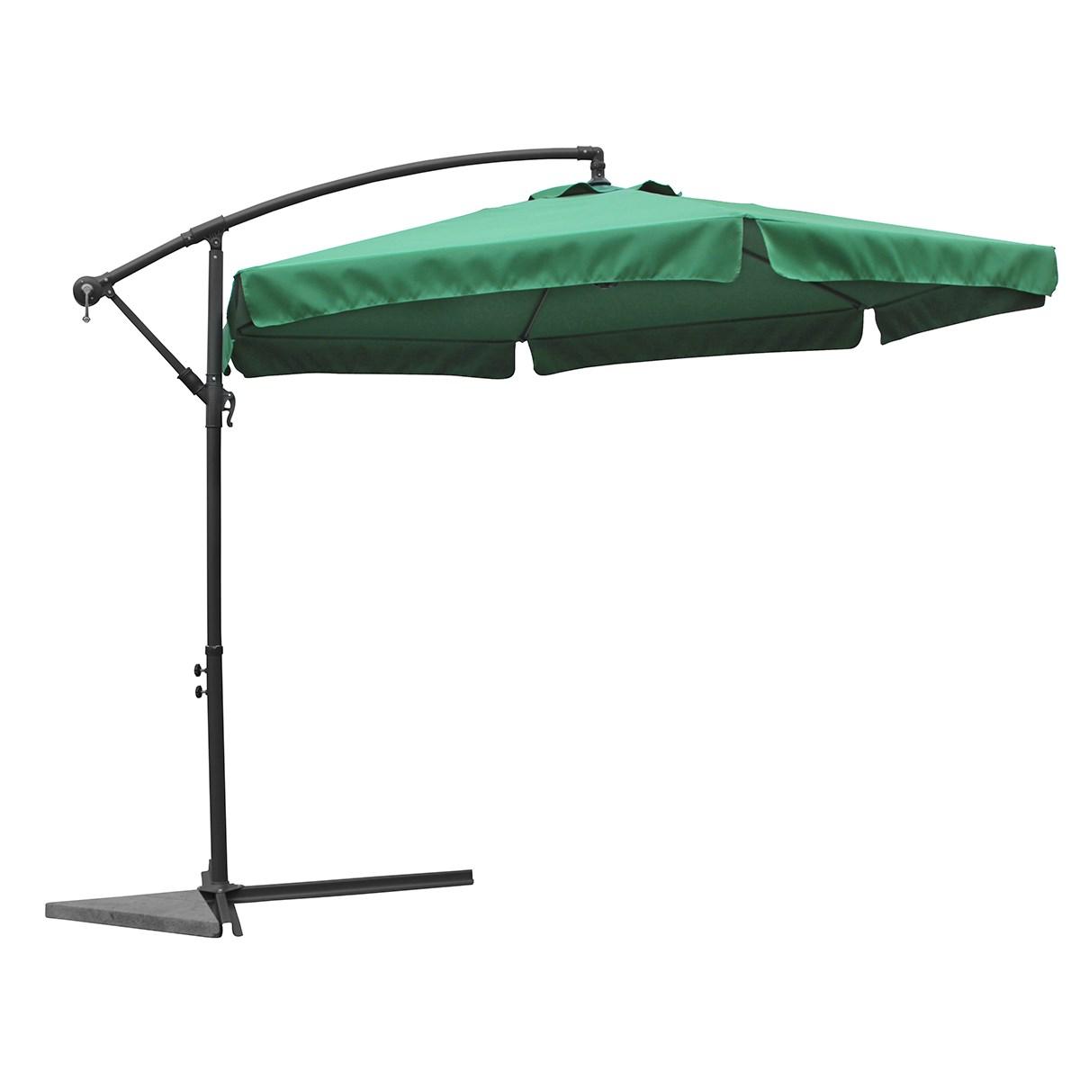 Grand parasol 3 5m nico vert tr s stable inclinable avec manivelle jardin piscine - Grand parasol ...