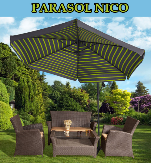 grand parasol 3 5m nico vert tr s stable inclinable avec manivelle jardin piscine. Black Bedroom Furniture Sets. Home Design Ideas