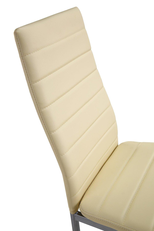 Lot de 6 chaises beige en simili cuir - Chaise en cuir beige ...