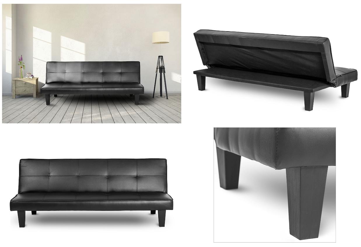 Tulon banquette convertible en lit clic clac noir canap simili cuir ac - Banquette simili cuir noir ...