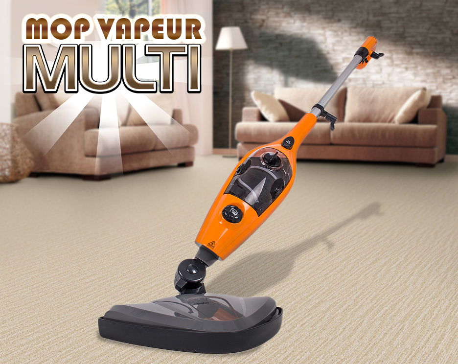 super balai vapeur multi 10 en 1 nettoyeur steam orange outillage. Black Bedroom Furniture Sets. Home Design Ideas