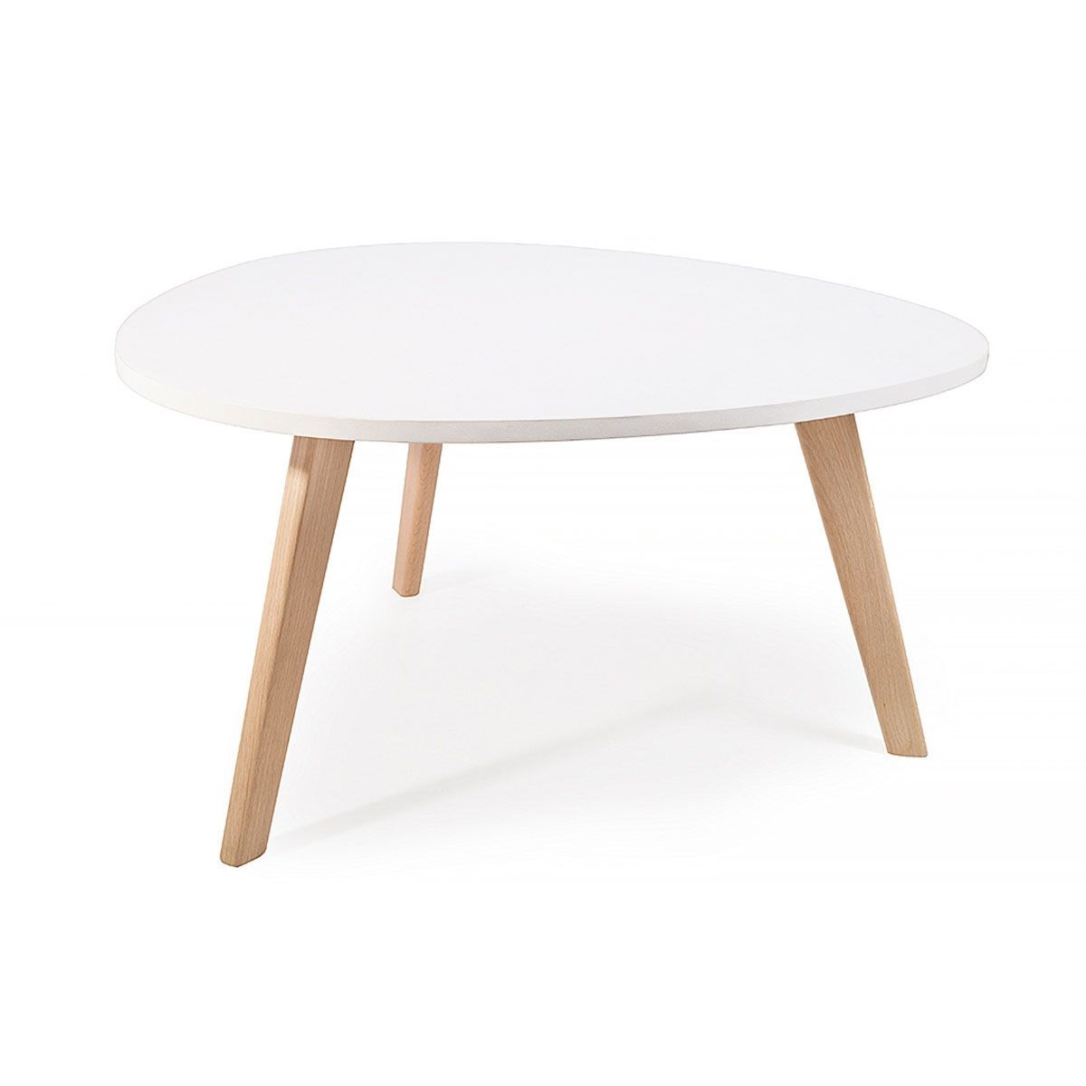 Alta table basse scandinave blanc 80x42cm nordique galet - Table basse ronde scandinave ...