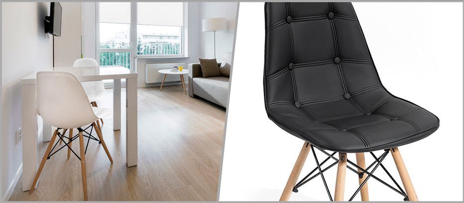 Lot de 4 chaises pu akland noir design nordique scandinave for S asseoir sans chaise