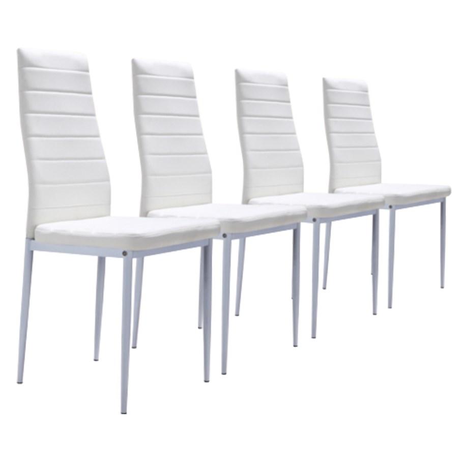 Lot de 4 chaises blanches achat vente chaise cdiscount - Chaises de cuisine blanches ...