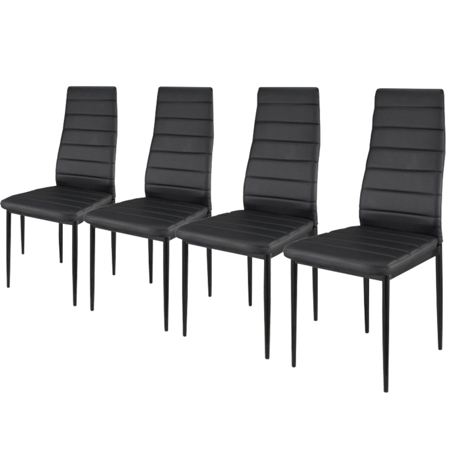 lot de 4 chaises noires ultra confort achat vente chaise cdiscount. Black Bedroom Furniture Sets. Home Design Ideas